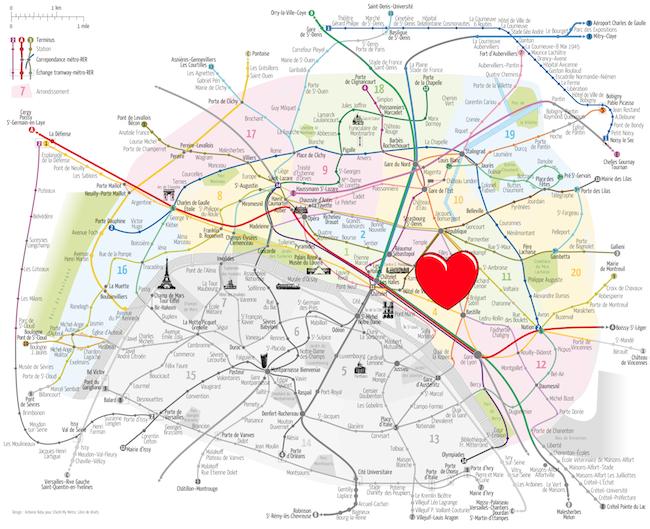 Carte Paris rive droite