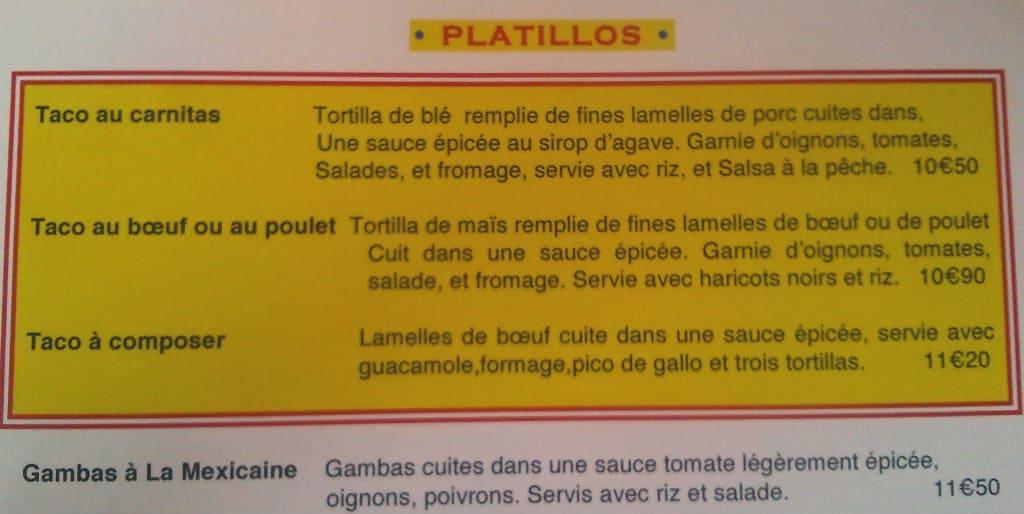 Aperçu des plats proposés sur la carte