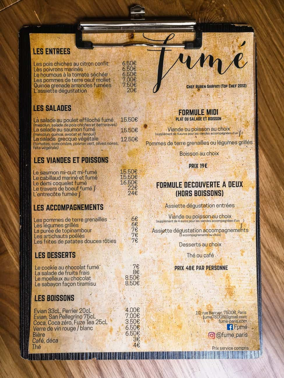 restaurant fumé paris 8